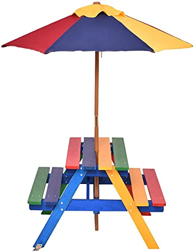 GYMAX Kids Picnic Table Bench, Wooden Garden Table Set with Removable Umbrella, Child Outdoor BBQ Furniture Set (Rainbow)