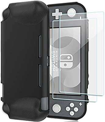 ProCase Nintendo Switch Lite Case, Slim Soft Shockproof TPU Cover Anti-Scratch Protective Case for Nintendo Switch Lite 2019, with 2 Pack Tempered Glass Screen Protectors –Black