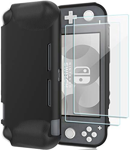 ProCase beschermhoes + (2 stuks) kogelvrij glas voor Nintendo Switch Lite 2019, zacht, dun, TPU, stootvast, transparante hoes + 2 gehard glas, zonder luchtbellen, displaybeschermfolie van gehard glas zwart
