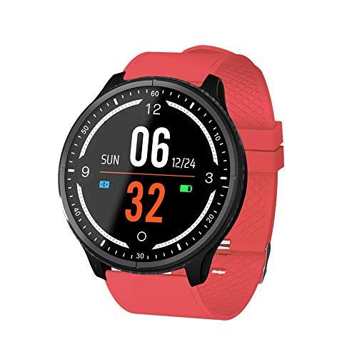 Suney Sport SmartWatch, Mode wasserdichter Multi-Sport Modus 1,3 Zoll runder HD Bildschirm Fitness Tracker Herzfrequenz/Blutdruck/Sauerstoffmonitor Kalorien Pedometer Smart Armband - Rot