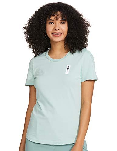 adidas W BB T Camiseta de Manga Corta, Mujer, Green Tint, L