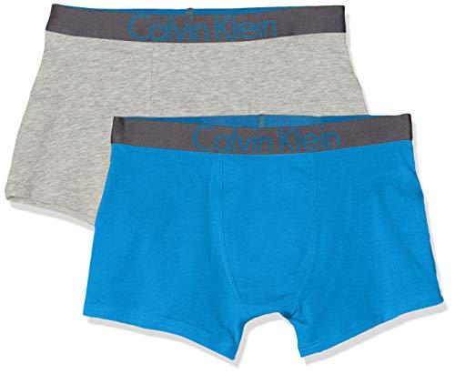 Calvin Klein 2pk Trunks Calzoncillos, Gris (1greyheather/1bluejewel 0im), 128 (Talla del fabricante: 8-10) (Pack de 2) para Niños