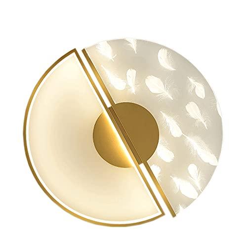 Lámpara de techo simple redonda dorada para interiores con plumas naturales, lámpara de techo empotrada LED regulable moderna, lámpara de techo de montaje empotrado para pasillo, porche, pasillo, coci