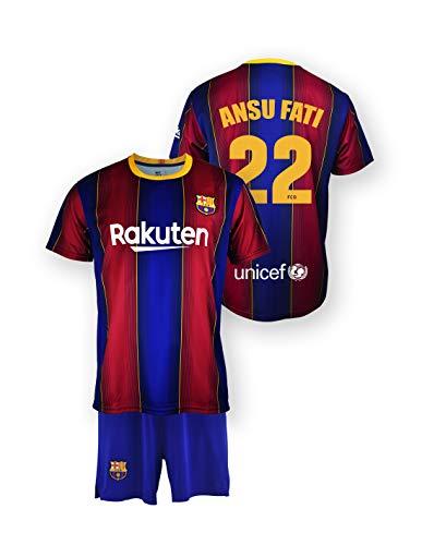 Conjunto Camiseta y pantalón Replica FC. Barcelona 1ª EQ Temporada 2020-21 - Producto con Licencia - Dorsal 22 Ansu Fati - 100% Poliéster - Talla 8 años