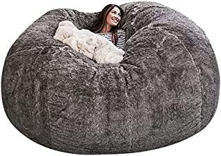 EKWQ Bean Bag Chair Cover,Chair Cushion 7ft Giant Fur Bean Bag Cover Living Room Furniture Big Round Soft Fluffy Faux Fur ...