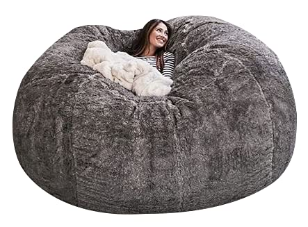 Bean Bag Chair Cover,Chair Cushion 7ft Giant Fur Bean Bag Cover Living Room Furniture Big Round Soft Fluffy Faux Fur BeanBag Sofa Bed Cover (No Filler) (Color : D180H90cm Light Grey)
