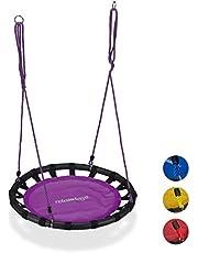 Relaxdays Nestschommel, ronde hangschommel, voor kinderen, verstelbare ronde schommel, Ø: 80 cm, tot 100 kg, versch. kleuren