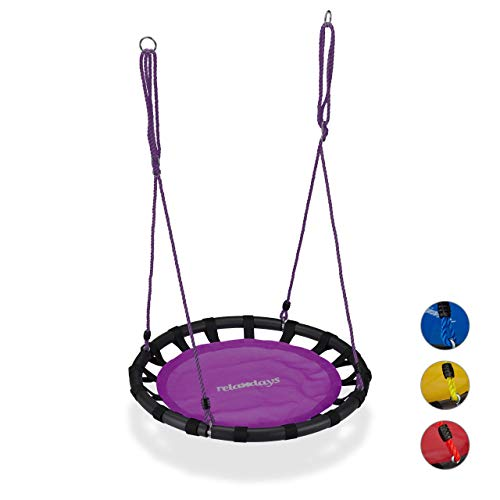 Relaxdays Nestschaukel, runde Hängeschaukel, für Kinder & Erwachsene, verstellbar, draußen, Ø: 80 cm, bis 100 kg, lila
