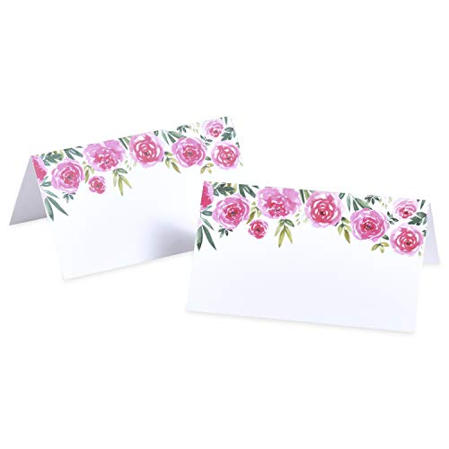 Place Cards - Pink Watercolor Peony Rose Tent Table Place Cards for Wedding Holiday Easter Catering Buffet Food Sign Paper Name Escort Card Folded (50-Cards)