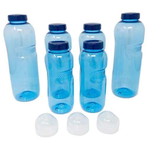 SAXONICA Original Kavodrink Trinkflasche Tritan 2 x 1 Liter + 2 x 0,75 Liter + 2 x 0,5 Liter + 3 x Sportdeckel Set