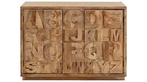 Loft24 Sideboard Schrank Kommode Anrichte 2 Türen 2 Schubladen Mangoholz ABC Buchstaben 120 x 45 x 85 cm