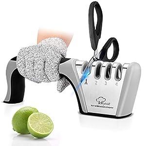 MYVIT 4 en 1 Afilador de cuchillos Afilador Cuchillos Profesional para afilar cuchillos de cocina manual afilador de cuchillos manual con diseño antideslizante y ergonómico para uso doméstico y chef