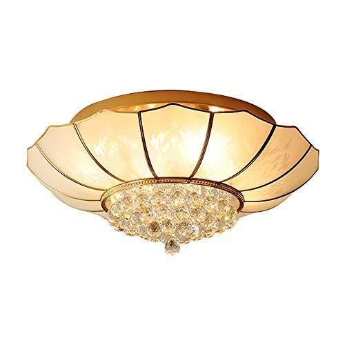 Liangsujiandd Chandelier, Cobre completa la lámpara de techo de cristal, Ronda ambiente de la sala de la lámpara, simple Inicio Dormitorio Comedor de la lámpara, la lámpara de techo colgante de crista