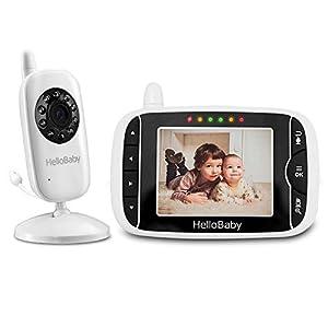 HelloBaby HB32 Vigilabebés Monitor Inalámbrico de Vídeo con Cámara Digital, Vigilancia de la Temperatura de Visión Nocturnay 2 Way Talkback System