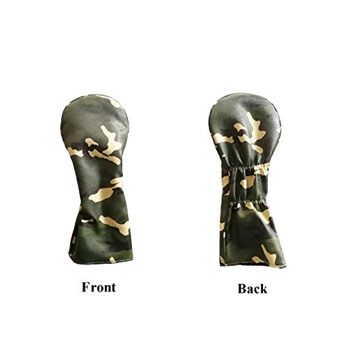NC Golf Club Headcovers Woods, Camouflage Synthetic Leather PU Headcovers for Driver Fairway UT Hybrid Waterproof Durable Head Cover, Blue