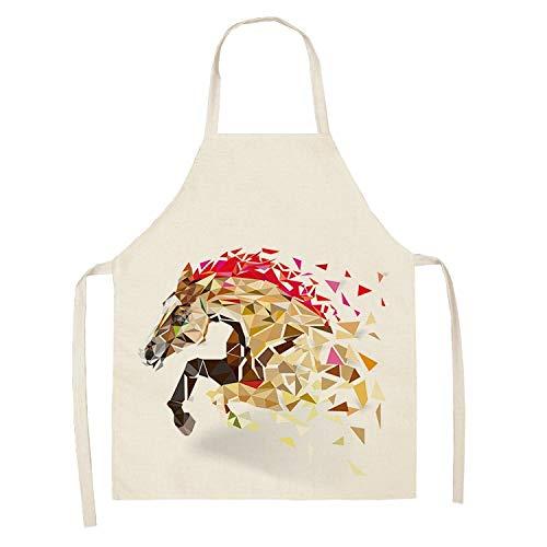 Masterchef 1 unids Caballo Cocina Sin mangas Delantales Para Mujeres Algodón Lino Baberos Limpieza Hogar Cocina Cocina Delantal 53 * 65cm (Color : 2WQ WQL0176 3)