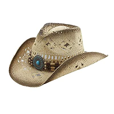 Men's & Women's Western Style Cowboy/Cowgirl Toyo Straw Hat (Tea Stain-Turquoise/Beads)