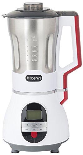 H.Koenig SOUP Maker MXC 36 Sopera Eléctrica y Licuadora, Máquina para hacer Sopas, Batidos, o Salsas, 1.7 Litros, 900 W, 7 Velocidades, 3 Temperaturas, Acero Inoxidable, MXC36, Blanco, Rojo y Negro