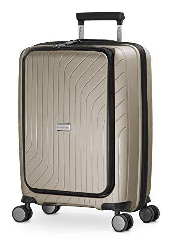 HAUPTSTADTKOFFER- TXL - leichtes Handgepäck mit Laptoptasche, Hartschalentrolley aus robustem Polypropylen, Business Trolley 55 cm, 40 L,TSA-Schloss, Champagner