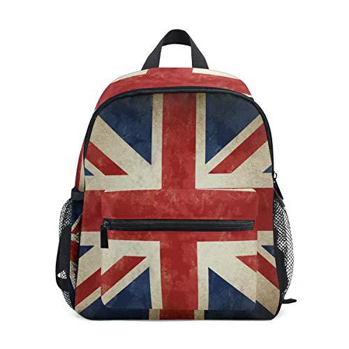Linomo Vintage UK Flagge Union Jack Englisch England Kinder Rucksack Tagesrucksack Büchertasche Vorschule Kleinkind Rucksäcke Kindergarten Schultertasche für Jungen Mädchen Kind