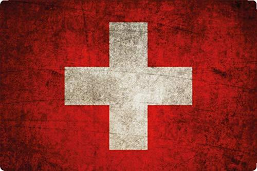 Generisch metalen bord 30 x 20 cm Zwitserland Zwitserland vlag vlag vintage retro bord
