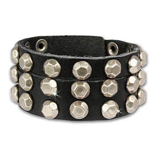 SilberDream Lederarmband schwarz mit Ziernieten für Herren oder Damen Leder Armband Echtleder LAP128S