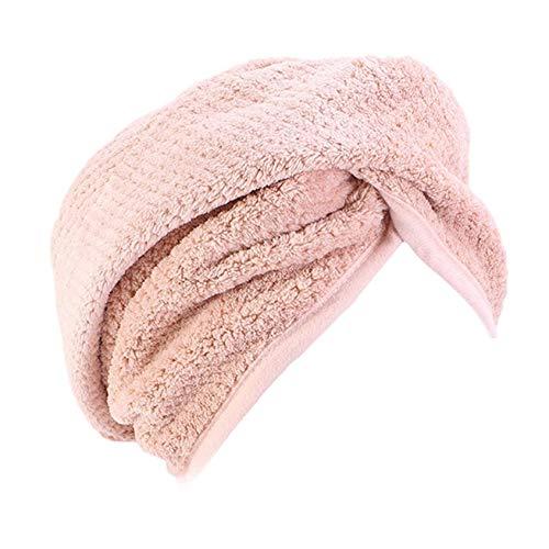 Turbante de 3 piezas con botón, toalla de secado rápido para mujer, toalla de microfibra para cabeza y pelo largo (1 pieza de color carne)