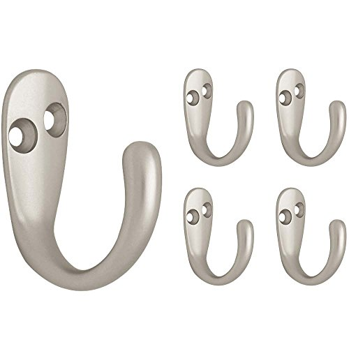 Franklin Brass FBSPRH5-MN-C Single Prong Robe Hook, 5-Pack, Matte Nickel, 5 Count
