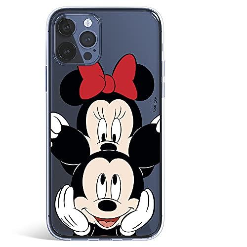 Funda para iPhone 12 Pro MAX Oficial de Clásicos Disney Mickey y Minnie asomado para Proteger tu móvil. Carcasa para Apple con Licencia Oficial de Disney.