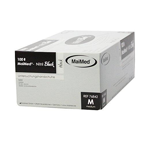 Maimed Nitril Black schwarze Nitrilhandschuhe Einweghandschuhe puderfrei Untersuchungshandschuhe XS-XL (M (Medium))
