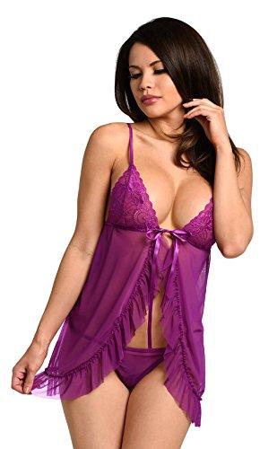 Velvet Kitten Purple Flyaway Lace Babydoll Chemise Lingerie (Small)