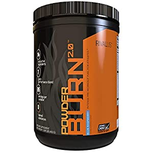 Rivalus Powder Burn 2.0 Pre Workout Supplement, Blue Raspberry, 1.1 Pound