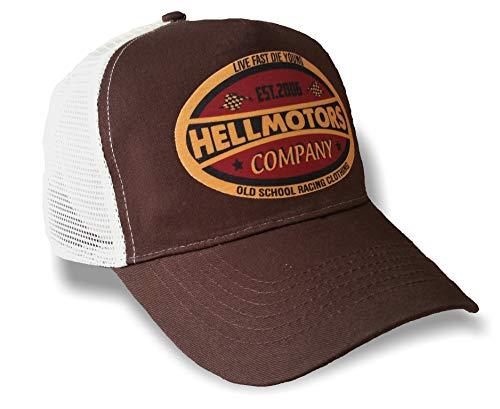 HELLMOTORS Live Fast Die Young Trucker Cap Oldschool Herren Damen Kappe Choco
