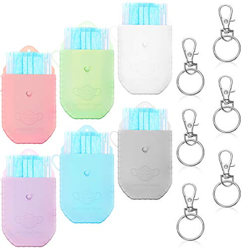 6 Pieces Face Covering Storage Box with Keychains Silicone Storage Case for Face Covering, Portable Mouth Covering Organizers Storage Clip Reusable Keeper Folder Storage Bag for Face Covering