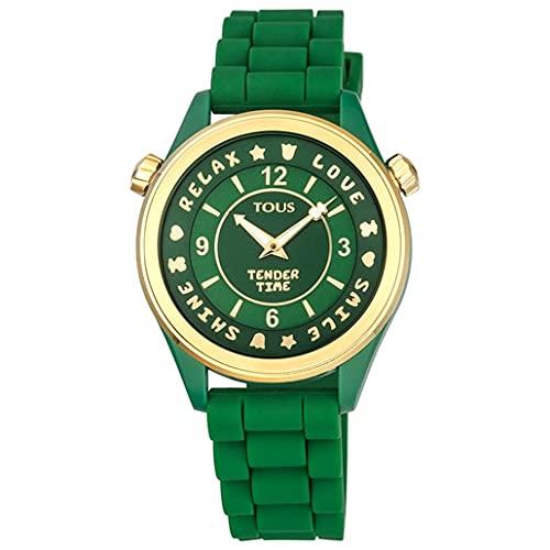 Tous Reloj Tender Time de Acero IP Dorado con Correa de Silicona Verde Ref. 100350575 Diámetro: 38 mm