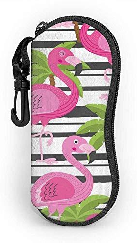 MODORSAN Sin costuras con estuche para gafas Flamingo y Tree Palm que protege y almacena las gafas de sol, los anteojos de lectura y la mayoría de las gafas, adecuado para hombres, mujeres y niños