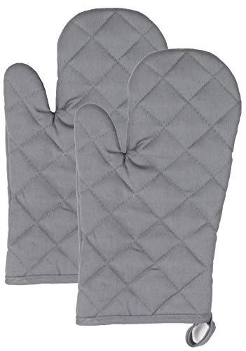 ZOLLNER 2er Set Ofenhandschuhe Baumwolle, hitzebeständig, grau, 18x30 cm