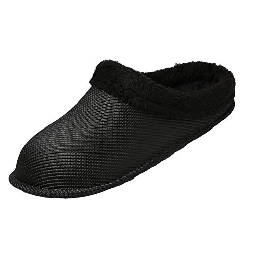 HMAIBO Lined Garden Clogs Shoes Slip On Fur Lined Warm Winter Slippers Breathable Lightweight Walking Kitchen Work Mules Indoor Outdoor House Slippers Black 40