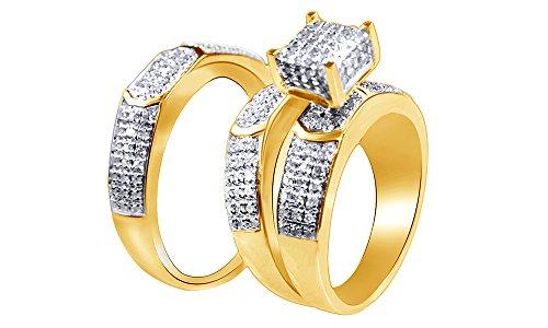 Juego de anillos de compromiso y boda de diamantes naturales blancos en oro blanco macizo de 9 quilates (0,79 quilates), Diamond,