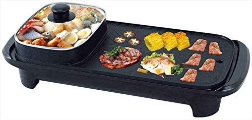 JUNC Hogar multifunción Barbacoa Pan de freír Pan de doble propósito Barbacoa Hot On One Pot Eléctrico Hot Pot Hot Baking Pan 54 x23cm