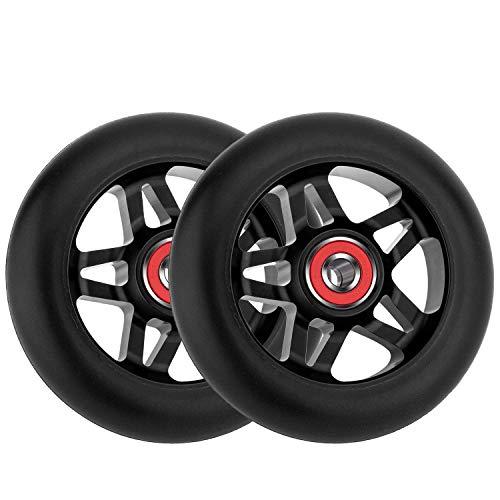 Mehomei Roller Rollen Scooter Ersatzräder 24 mm x 100 mm mit Kugellager 608RS ABEC-7, Härtegrad 88A Scooter Räder für Kinder Erwachsene, 2 Stück, Schwarz
