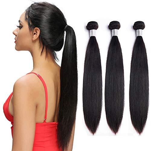 Echthaar Bundles Brazilian Straight Hair 3 Bundles Soft Remy Virgin Hair Unprocessed Hair Weave Glatt Lange Thick HaarverläNgerung Weave 20 22 24 Zoll Von NIUDINNG