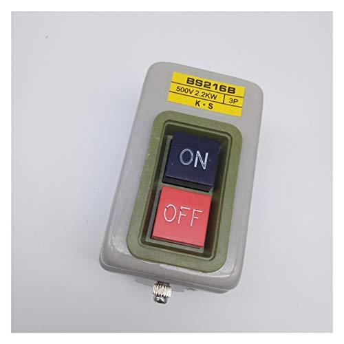 XINGYAO Interruptor Giratorio Botón de Control de Potencia Interruptor Botón de Arranque del Motor trifásico y presione Switch BS211B / 216B / 230B 1.5/2.2/3.7kw (Color : BS216B)