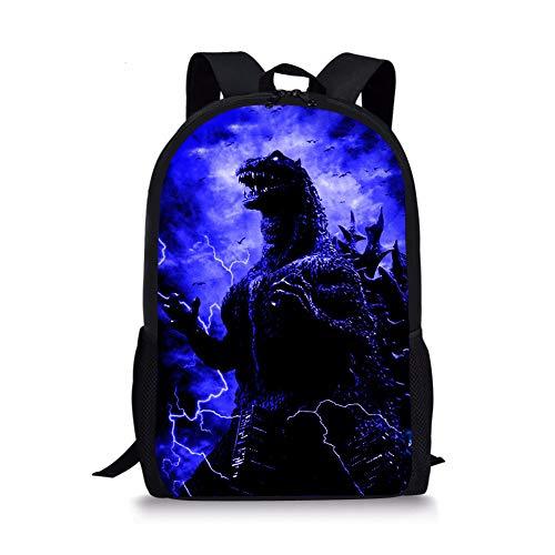 POLERO Godzilla Mochila, mochila escolar para niños con diseño de dinosaurio Multicolor Purple Godzilla 44x28x13cm