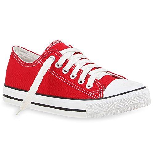 stiefelparadies Damen Schuhe Sneakers Sportschuhe Stoffschuhe Textil Schuhe 50452 Rot 40 Flandell