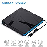 Lecteur DVD Externe USB 3.0,Type C Graveur CD Externe Portable Et Mince et Lége,Compatible Windows 10/8/7/XP/Vista, Laptop, Mac,...