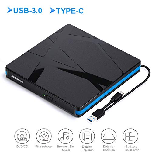 Lecteur DVD Externe USB 3.0,Type C Graveur CD Externe Portable Et Mince et Lége,Compatible Windows 10/8/7/XP/Vista, Laptop, Mac, Macbook Air/Pro, Desktop, PC