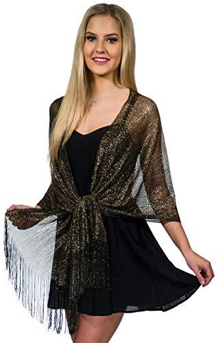 Shawls and Wraps for Evening Dresses, Metallic Sparkle Womens Wedding Black Gold Shawl
