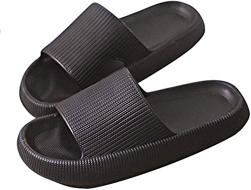 Pillow Slides Slippers, Unisex Shower Sandals with Thick Sole, Ultra-Soft Slippers Extra Soft Cloud Shoes Non-Slip Quick-Drying Open Toe Pillow Slides Sandals (Black, numeric_36)