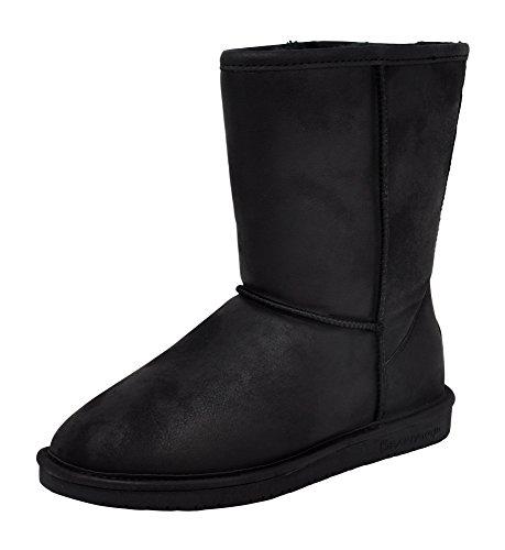 BEARPAW Women's Wide Calf Emma Short Boot, Black, 10